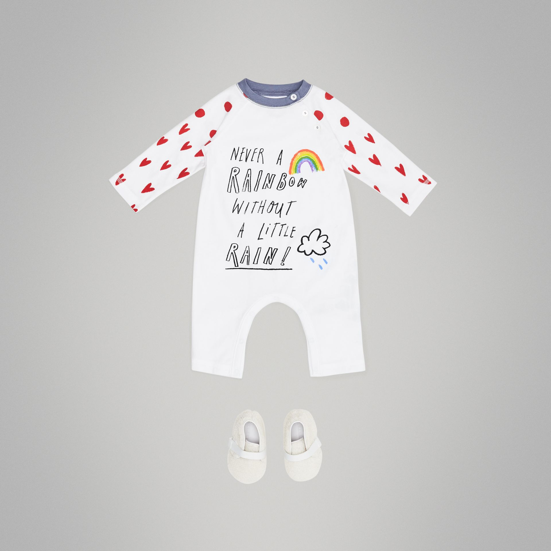 Weather Graphic Cotton Jumpsuit in White - Children | Burberry United Kingdom - gallery image 2