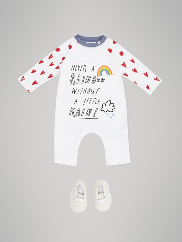 Weather Graphic Cotton Jumpsuit in White - Children | Burberry - cell image 2