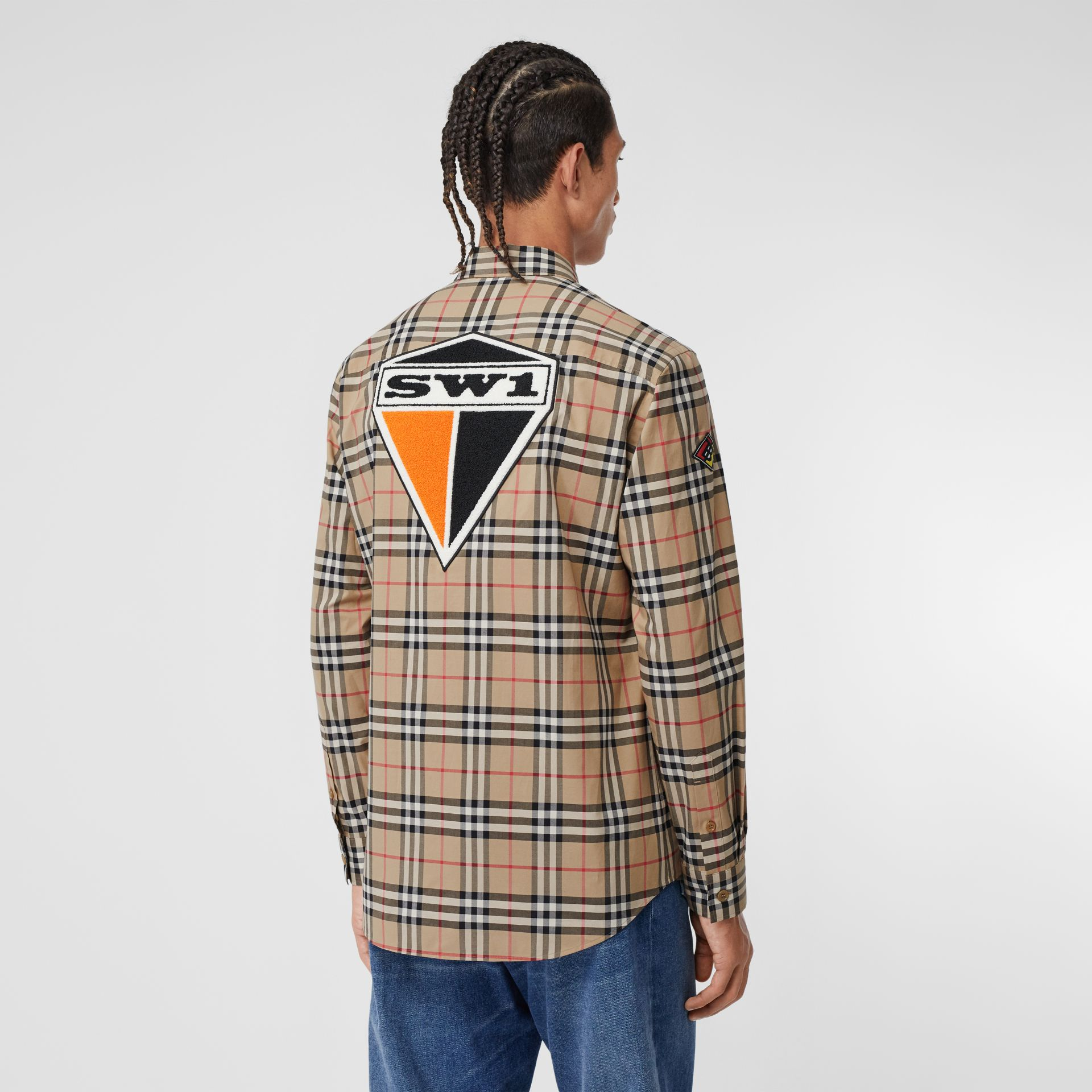 Classic Fit Logo Graphic Vintage Check Cotton Shirt in Archive Beige - Men | Burberry - gallery image 2