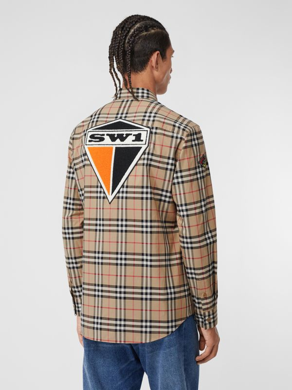 Classic Fit Logo Graphic Vintage Check Cotton Shirt in Archive Beige - Men | Burberry - cell image 2