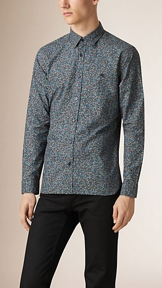 Regular Fit Flower Print Cotton Shirt