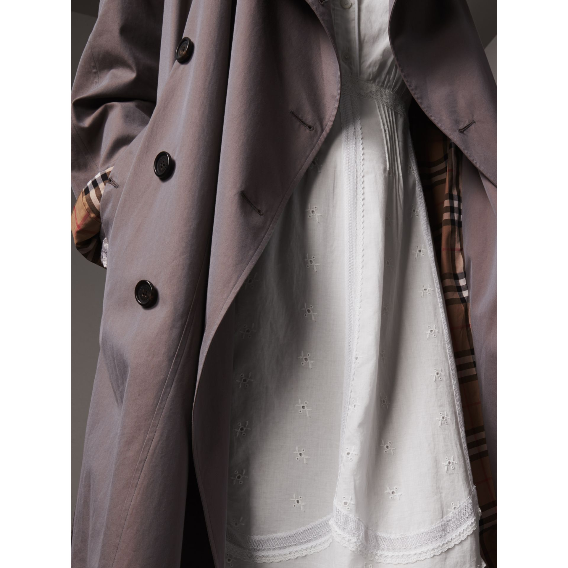 Tropical Gabardine Asymmetric Trench Coat in Lilac Grey - Women | Burberry Australia - gallery image 5