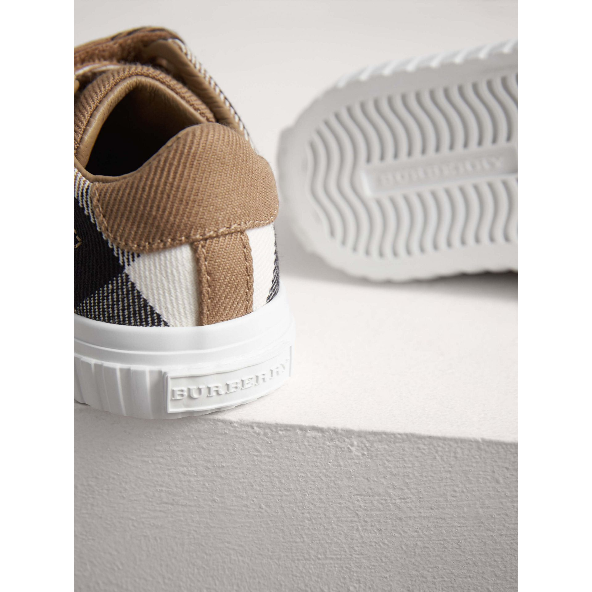 House Check and Leather Sneakers in Classic/optic White | Burberry - gallery image 1