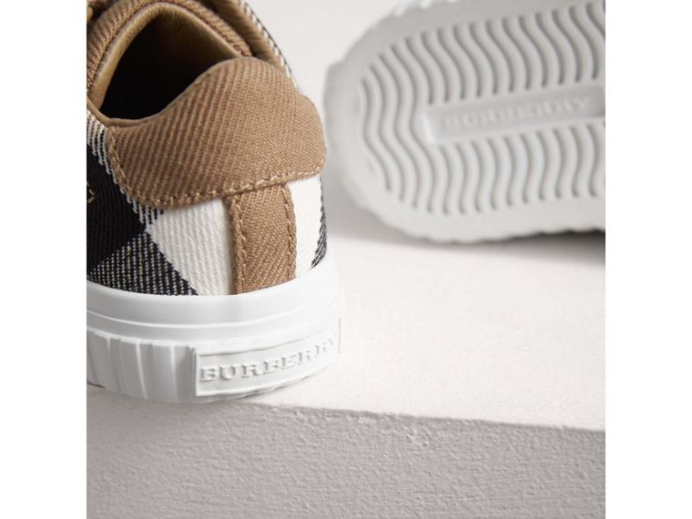House Check and Leather Sneakers in Classic/optic White | Burberry - cell image 1