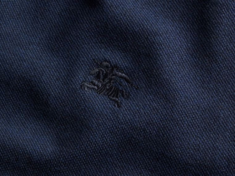 Navy melange Check Placket Long Sleeve Polo Shirt Navy Melange - cell image 1