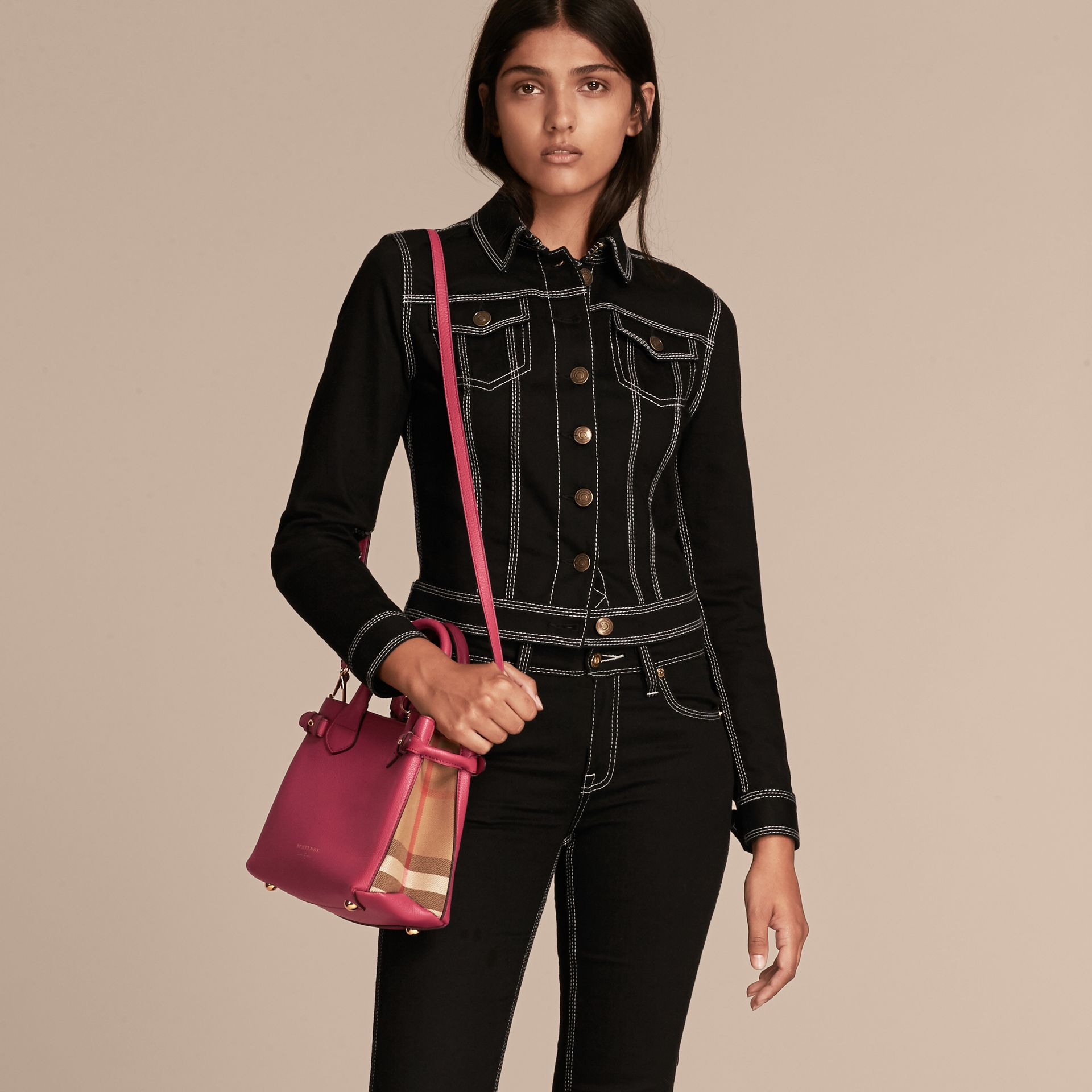The Small Banner in Leather and House Check in Brilliant Fuchsia - Women | Burberry - gallery image 3