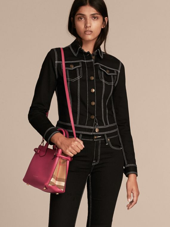 The Small Banner in Leather and House Check in Brilliant Fuchsia - Women | Burberry - cell image 2