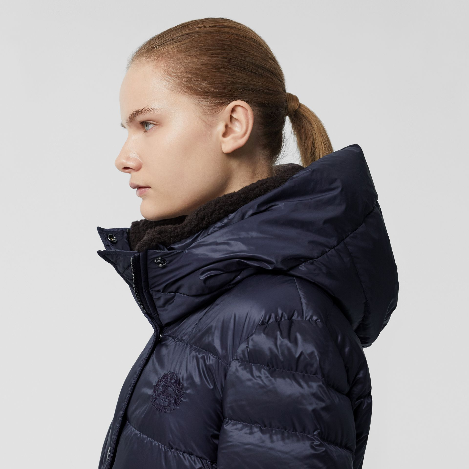 Down-filled Hooded Puffer Coat in Navy - Women | Burberry - gallery image 5