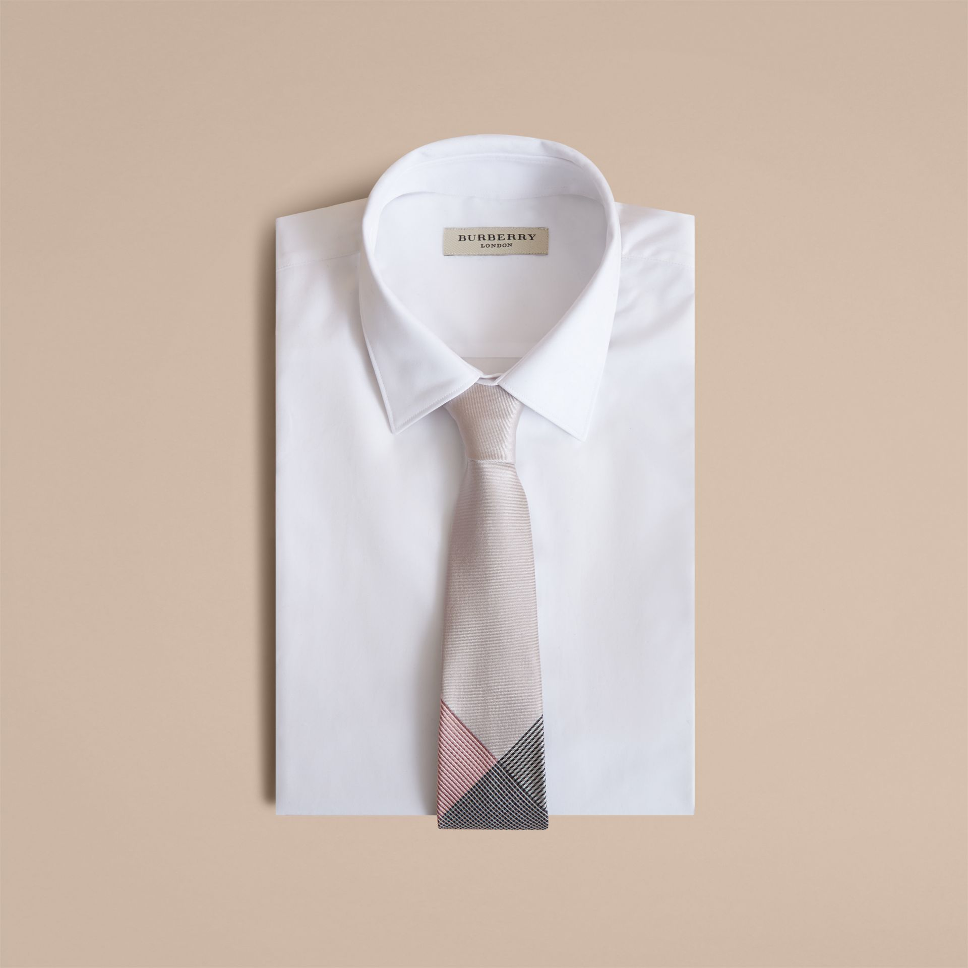 Modern Cut Gingham Check Silk Jacquard Tie in Apricot Pink - Men | Burberry Singapore - gallery image 4