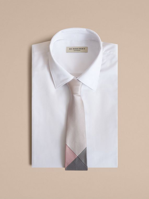 Modern Cut Gingham Check Silk Jacquard Tie in Apricot Pink - Men | Burberry - cell image 3