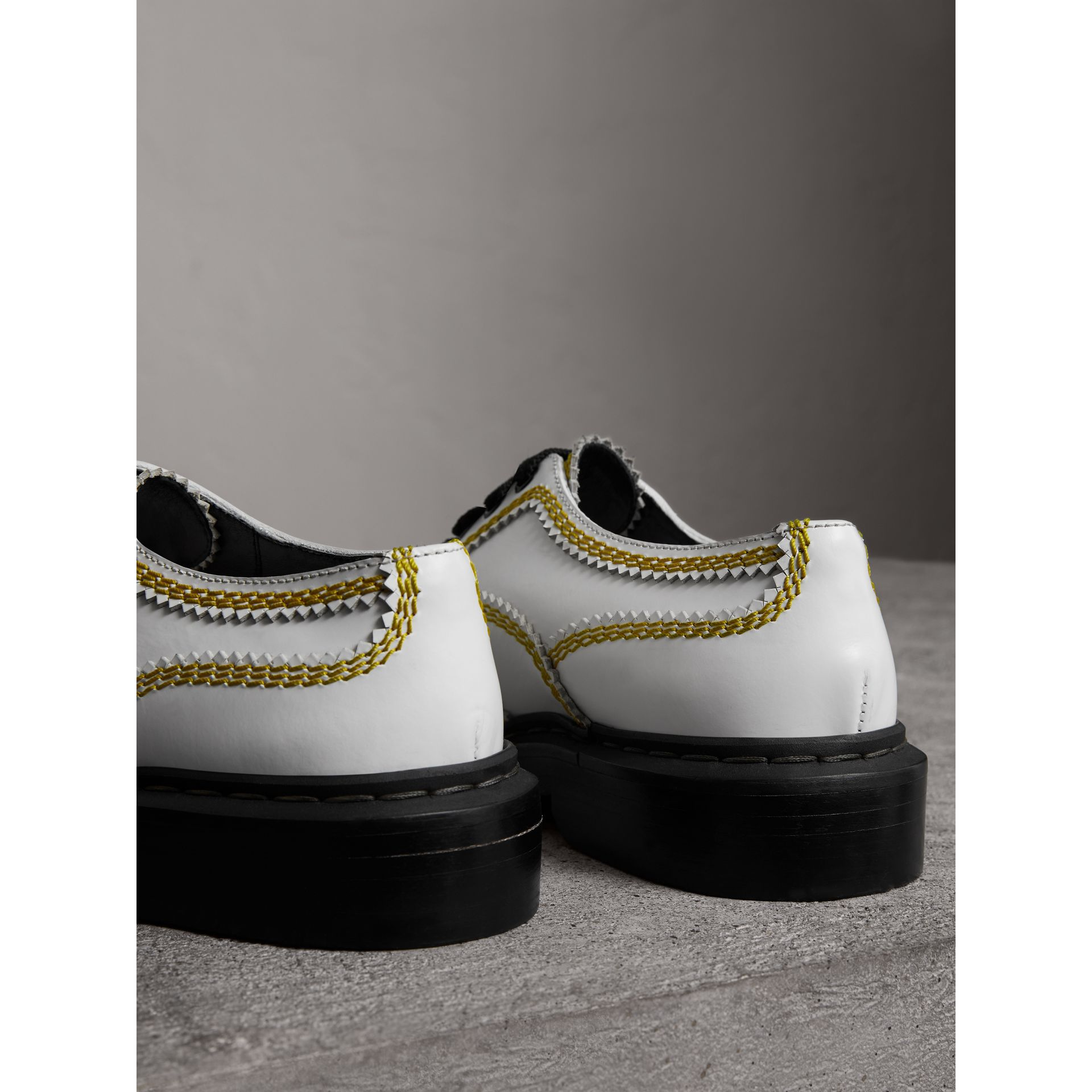 Topstitch Leather Lace-up Shoes in Optic White - Women | Burberry - gallery image 2