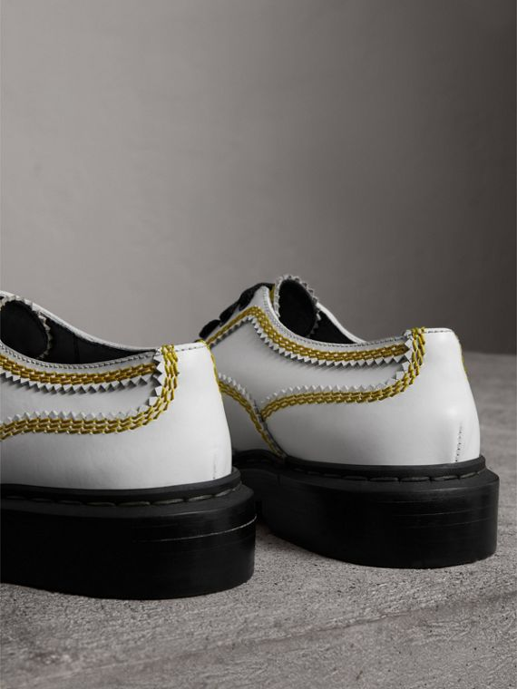 Topstitch Leather Lace-up Shoes in Optic White - Women | Burberry Hong Kong - cell image 2