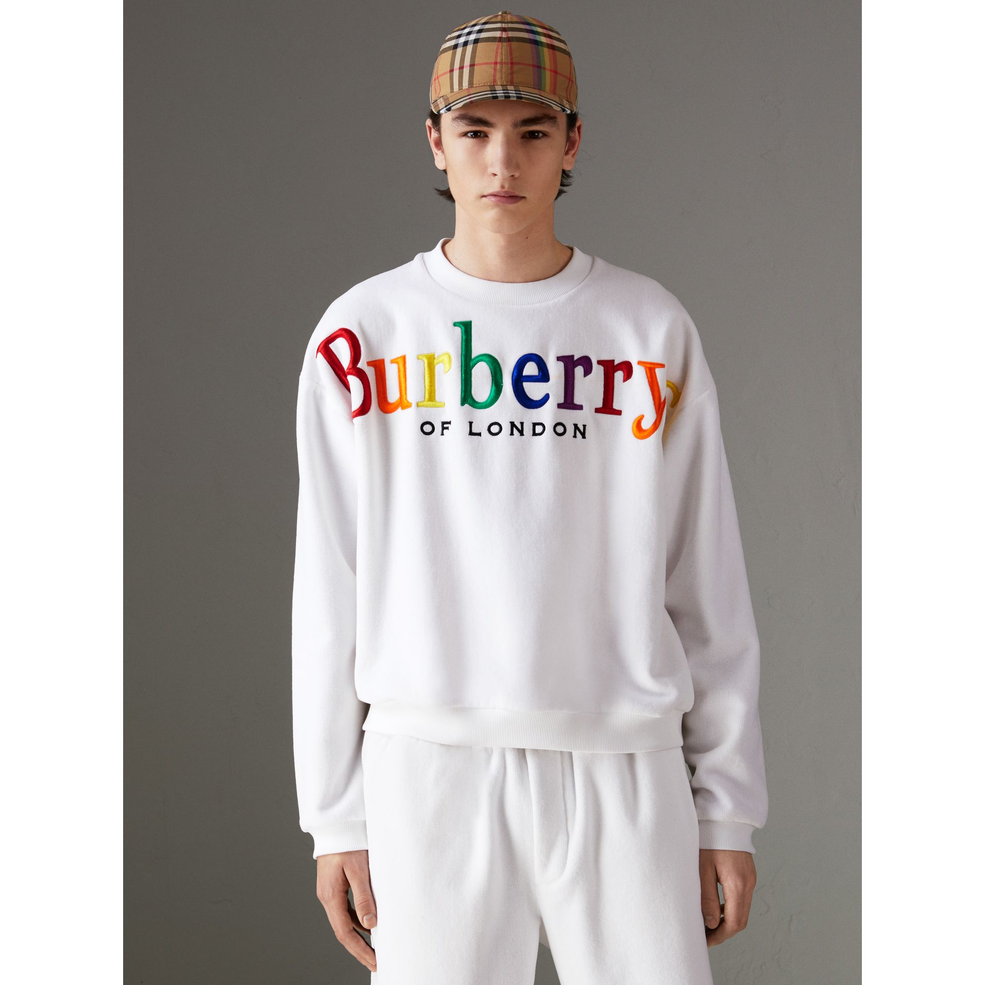 Archive Logo Towelling Sweatshirt in White | Burberry Singapore - gallery image 1