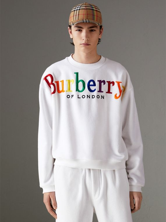Archive Logo Towelling Sweatshirt in White