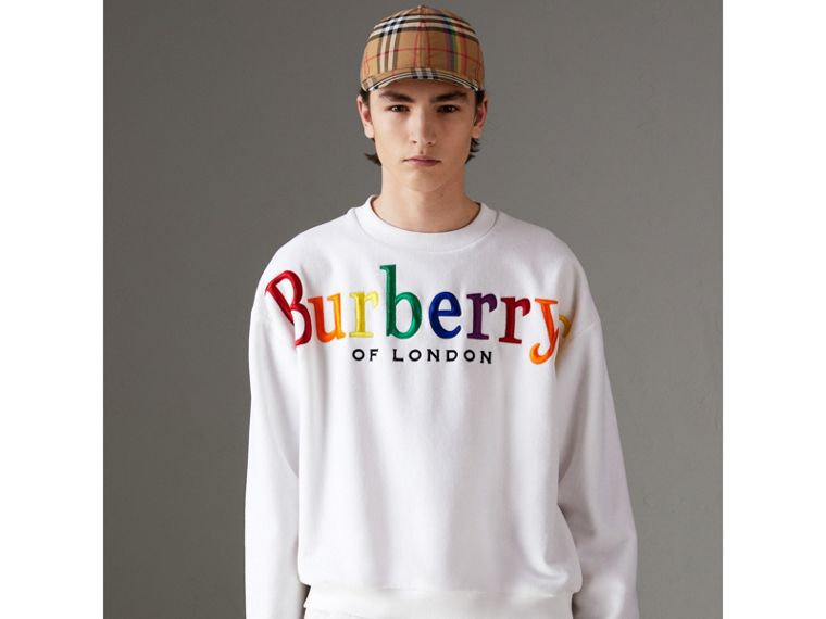 Archive Logo Towelling Sweatshirt in White | Burberry Australia - cell image 1