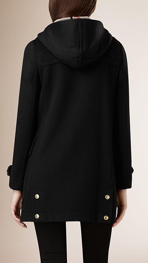 Black Straight Fit Duffle Coat - Image 3