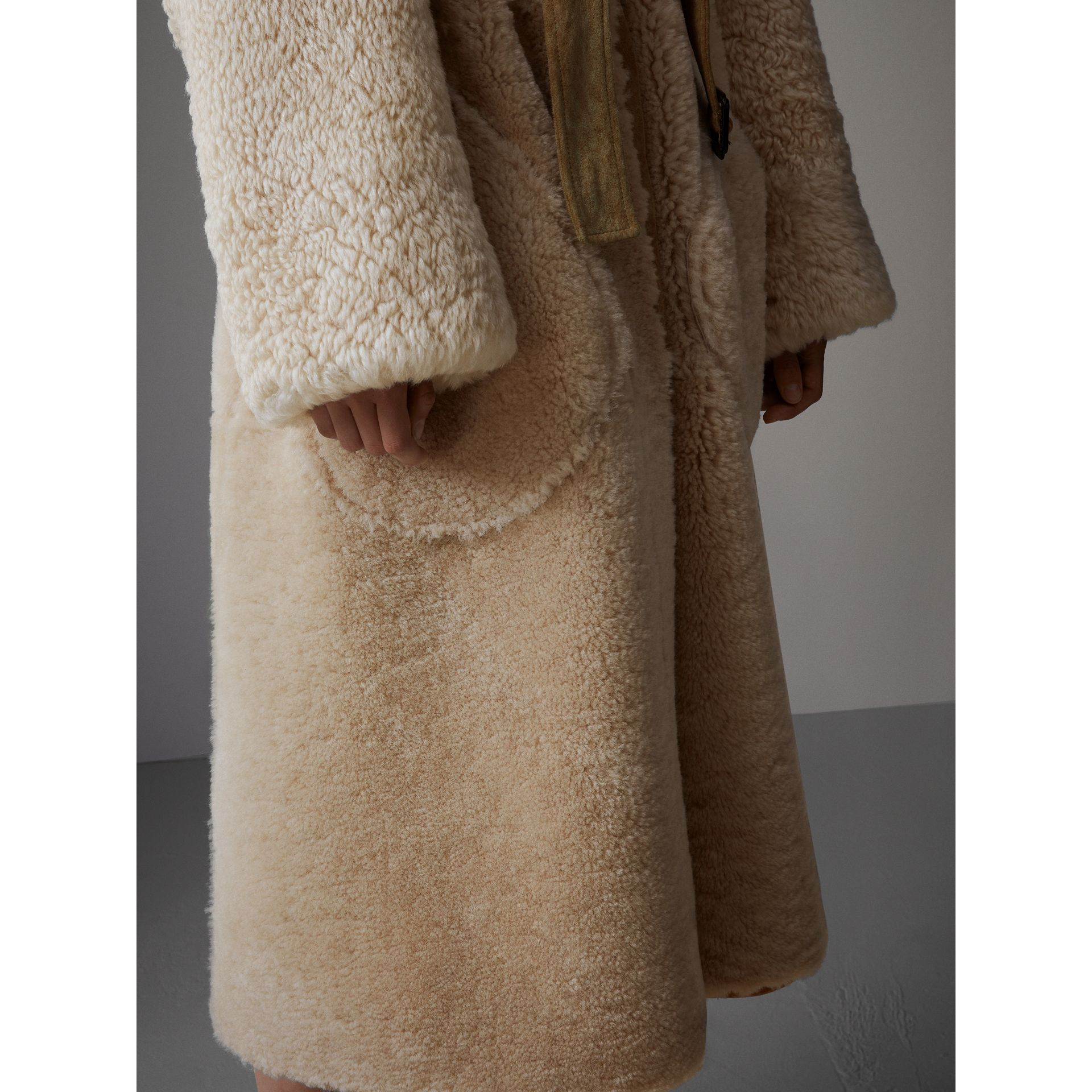Shearling Oversized Belted Coat in Camel/off White - Women | Burberry - gallery image 5