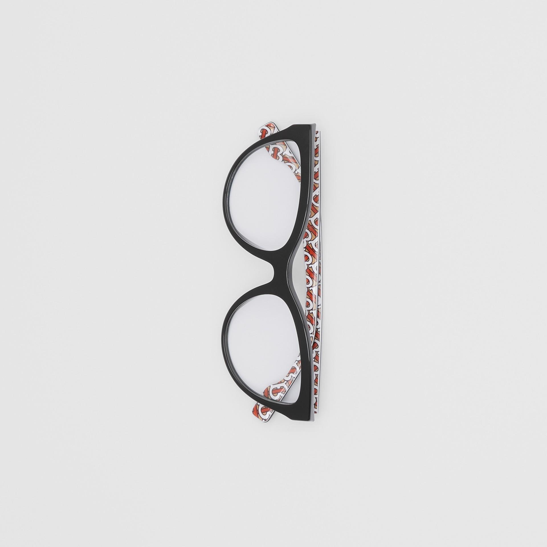 Monture œil-de-chat pour lunettes de vue Monogram (Noir/vermillon) - Femme | Burberry Canada - photo de la galerie 3