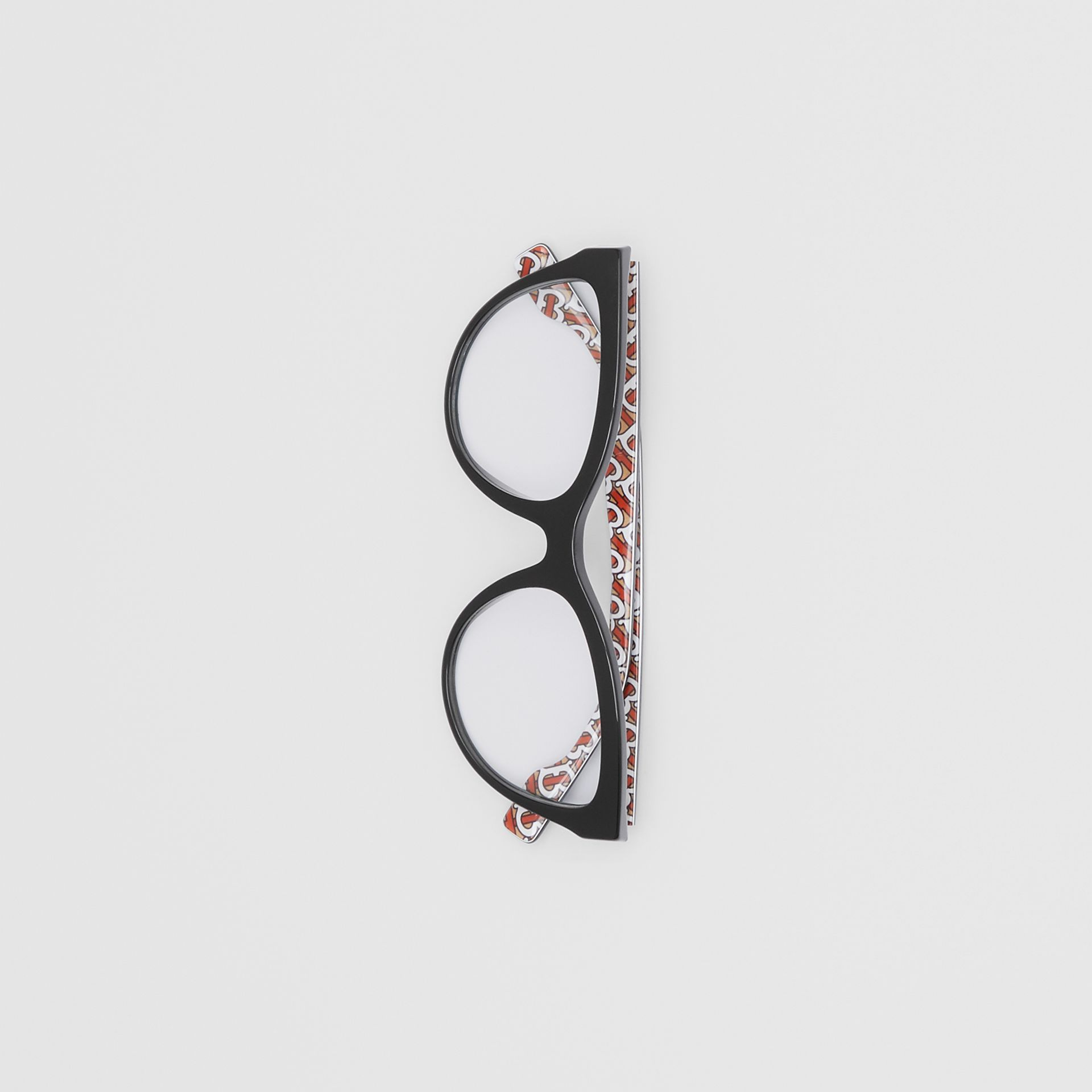 Monogram Print Detail Cat-eye Optical Frames in Black/vermilion - Women | Burberry - gallery image 3