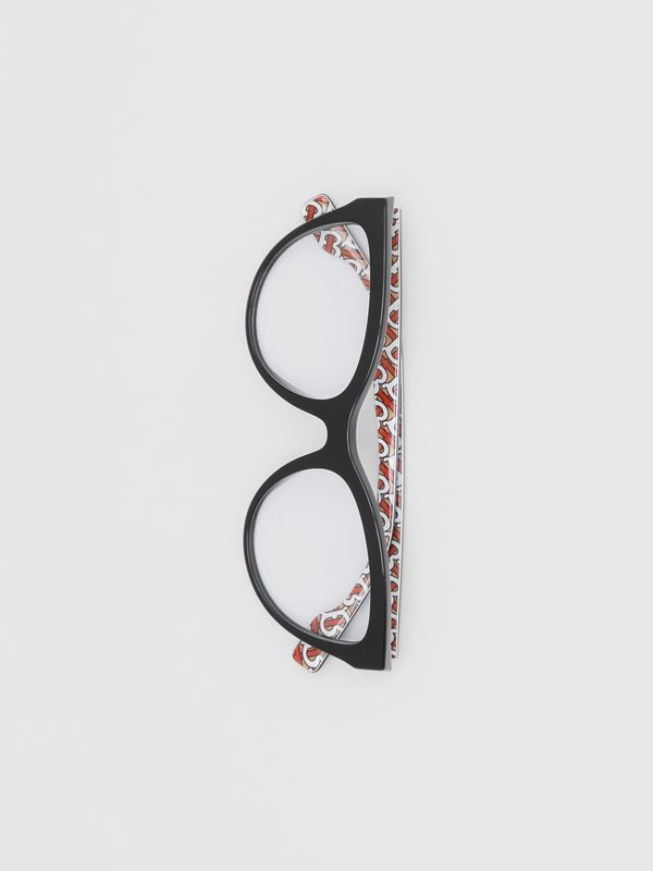 Monogram Print Detail Cat-eye Optical Frames in Black/vermilion - Women | Burberry - cell image 2