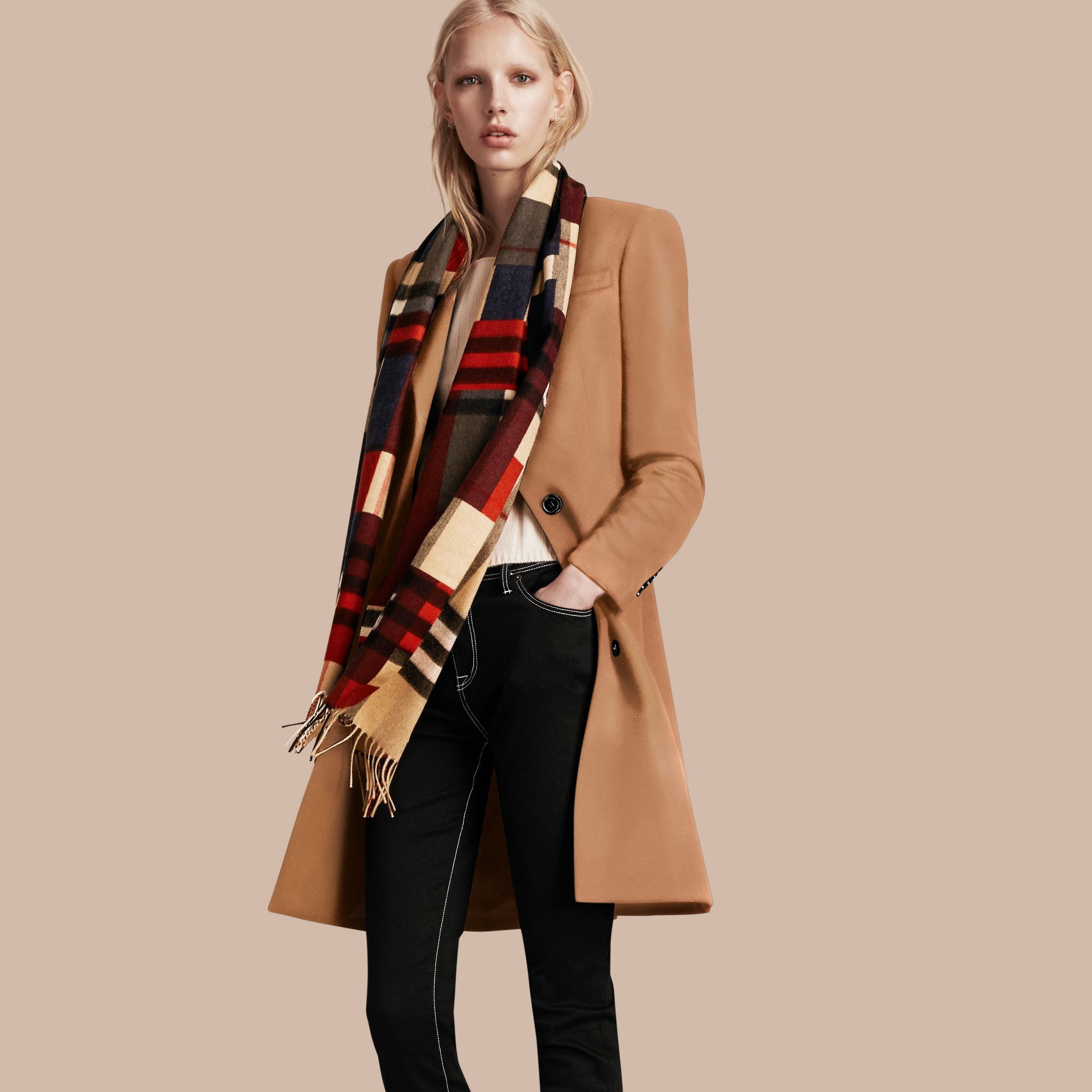 The Classic Cashmere Scarf in Colour Block Check - gallery image 3