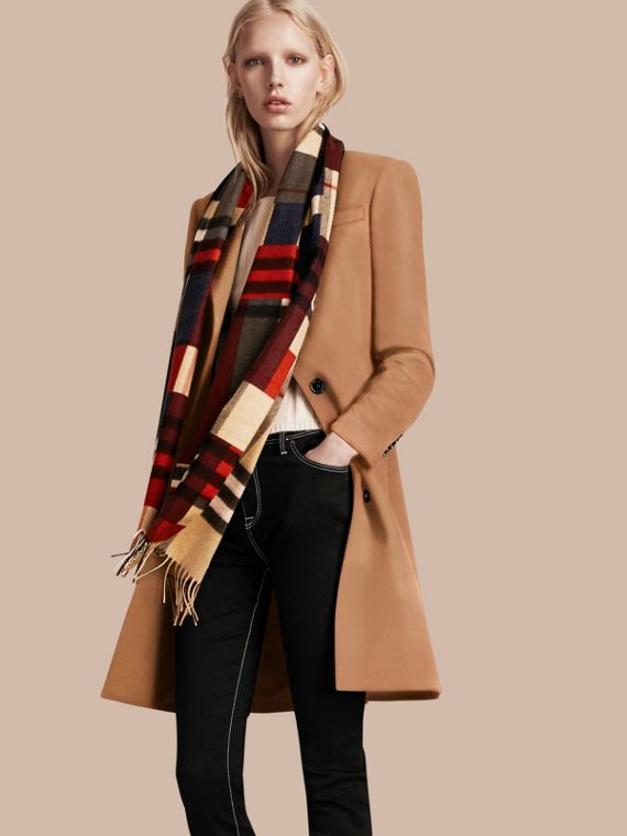 Parade red The Classic Cashmere Scarf in Colour Block Check - cell image 2