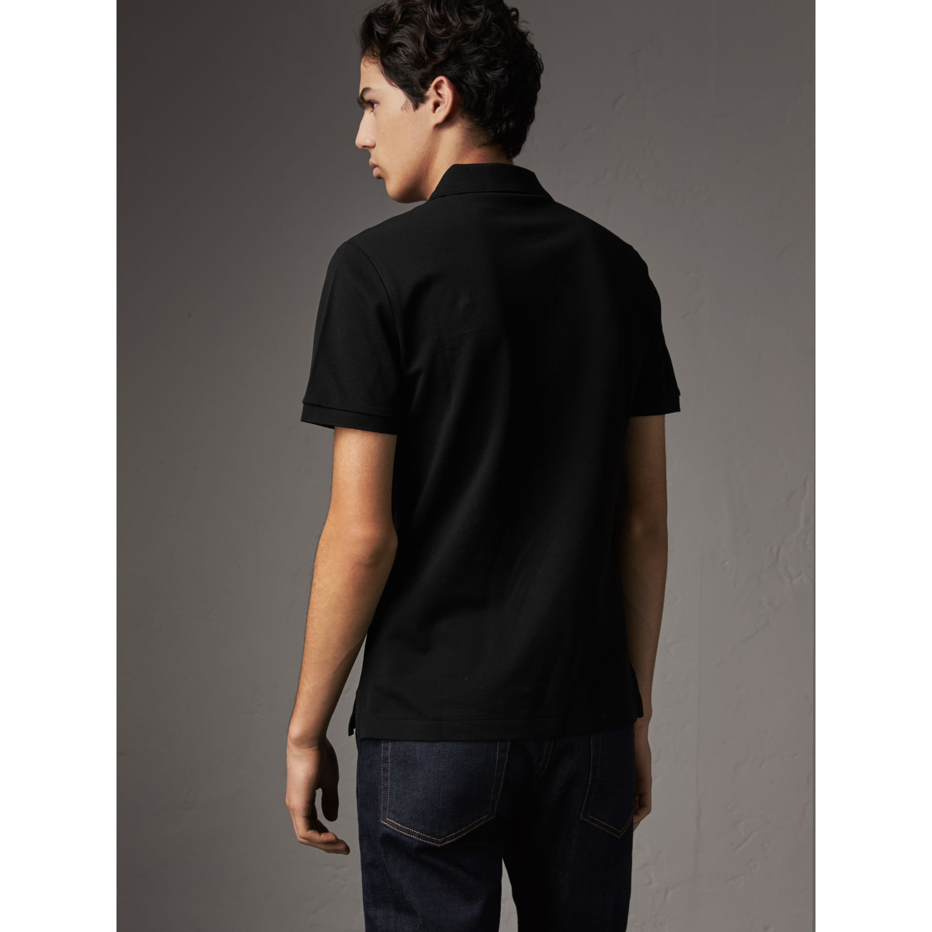 Cotton Piqué Polo Shirt in Black - Men | Burberry - gallery image 2