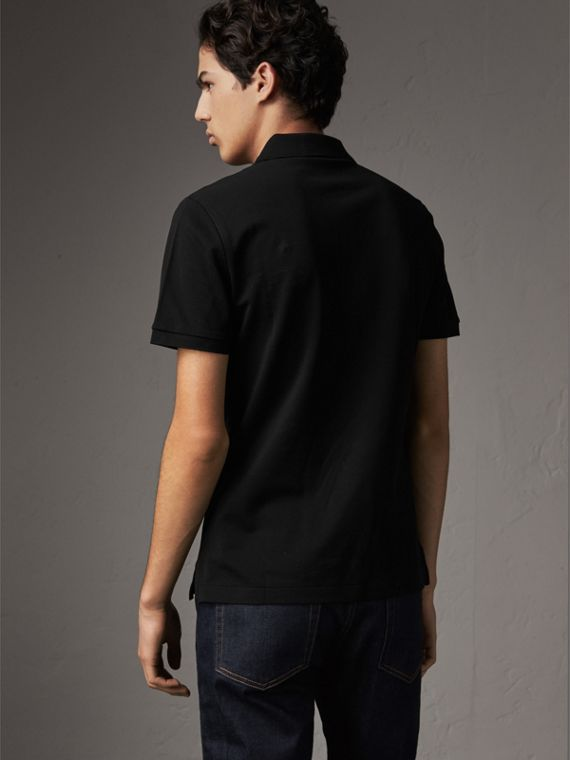 Cotton Piqué Polo Shirt in Black - Men | Burberry Australia - cell image 2