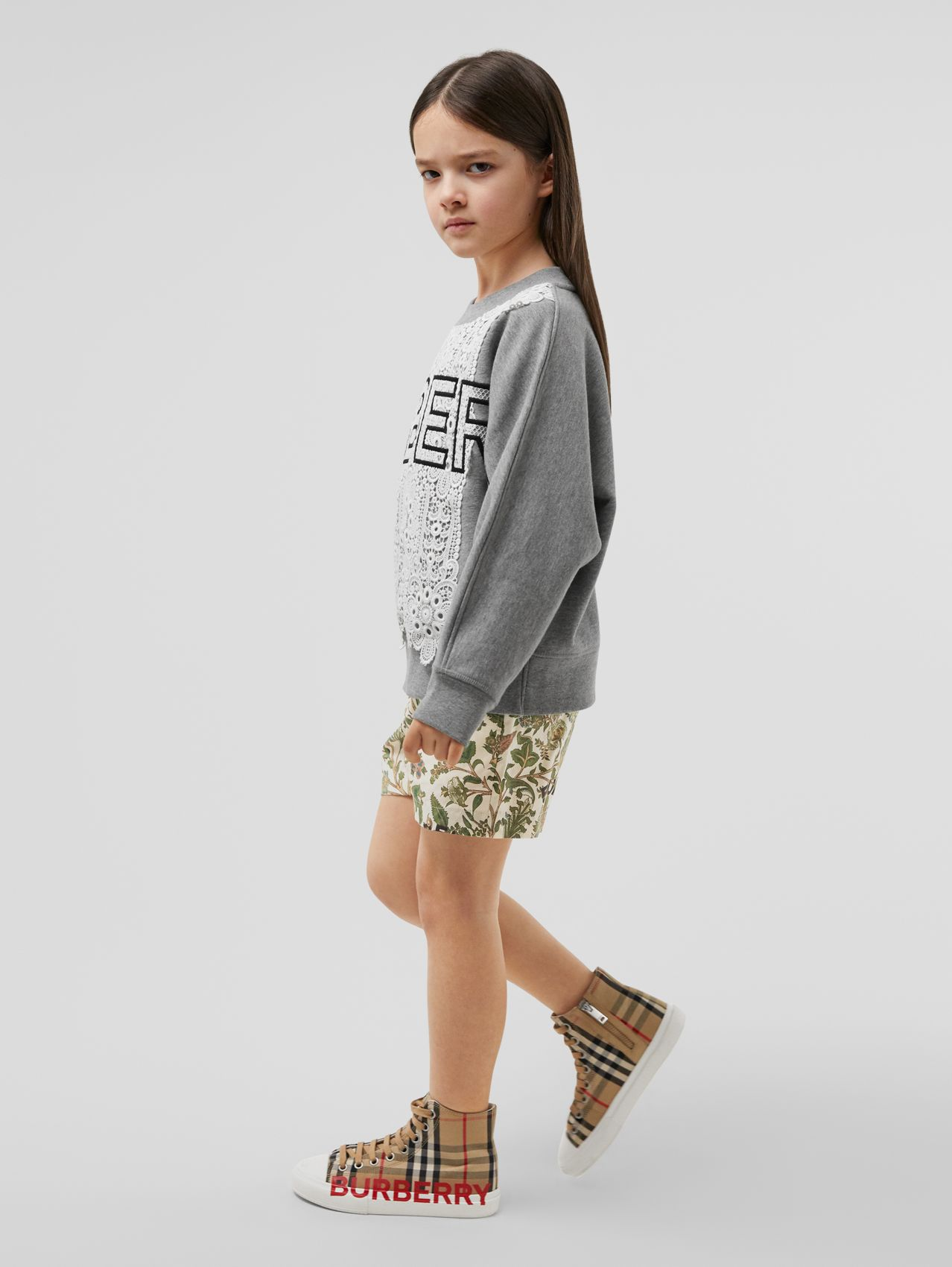 Botanical Print Cotton Tailored Shorts in Olive