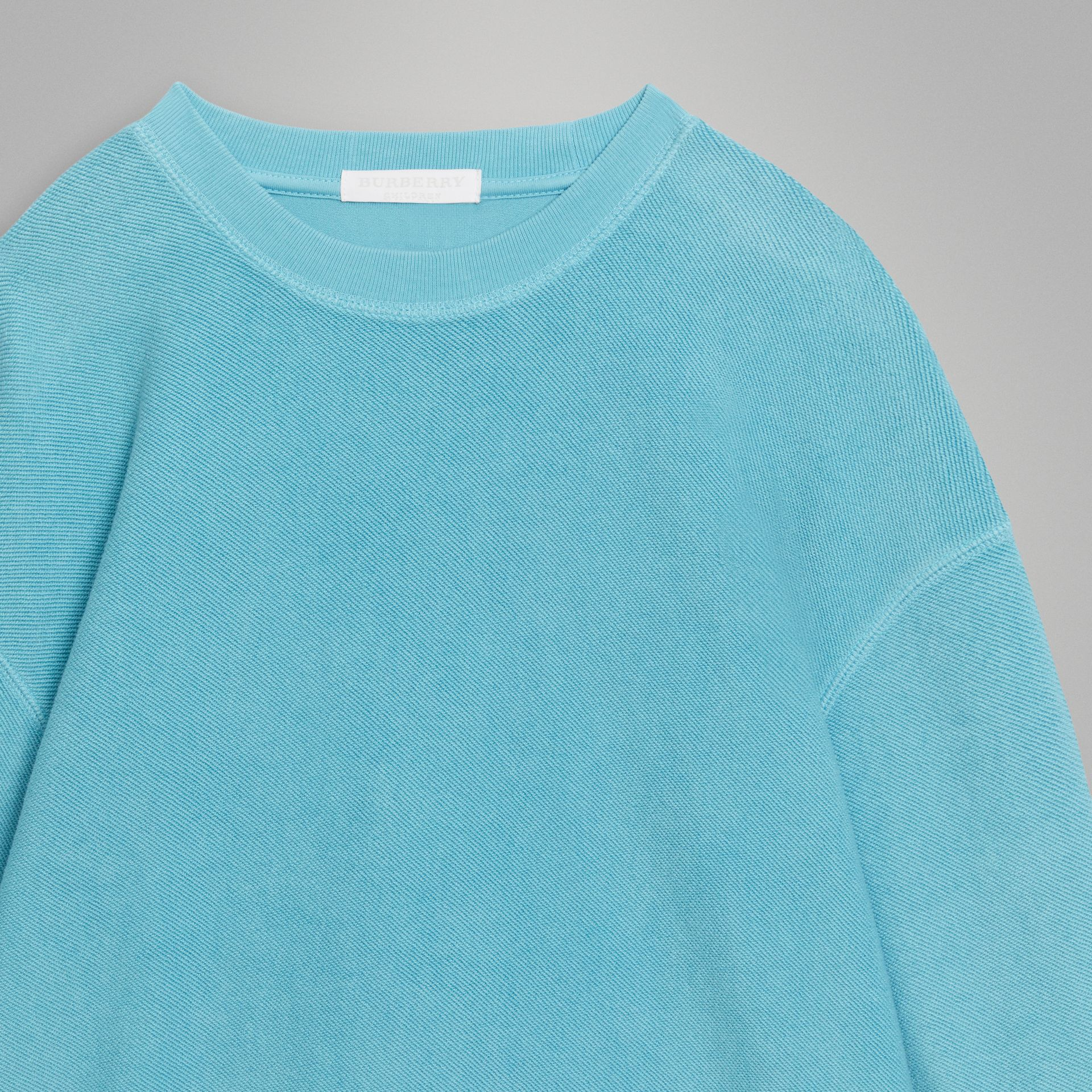 Number Print Cotton Sweatshirt in Bright Cyan Blue | Burberry Singapore - gallery image 5