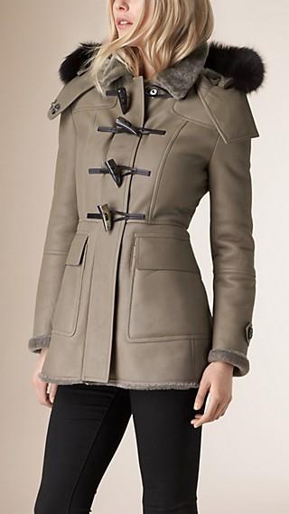 Fox Fur Trim Shearling Duffle Coat