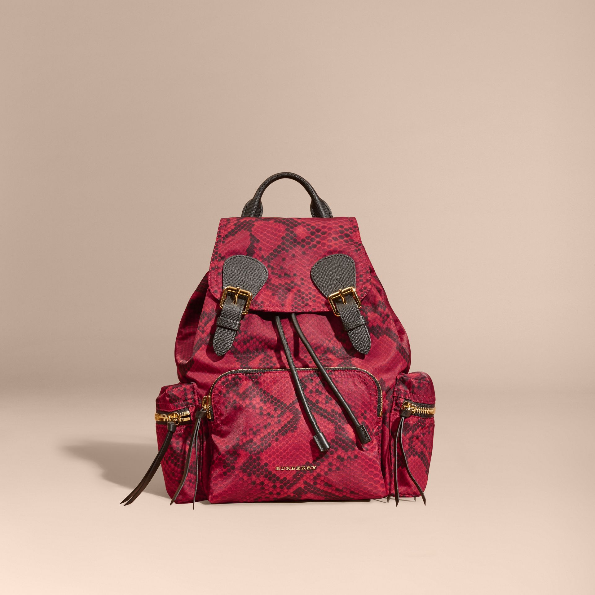 The Medium Rucksack in Python Print Nylon and Leather Burgundy Red - gallery image 8