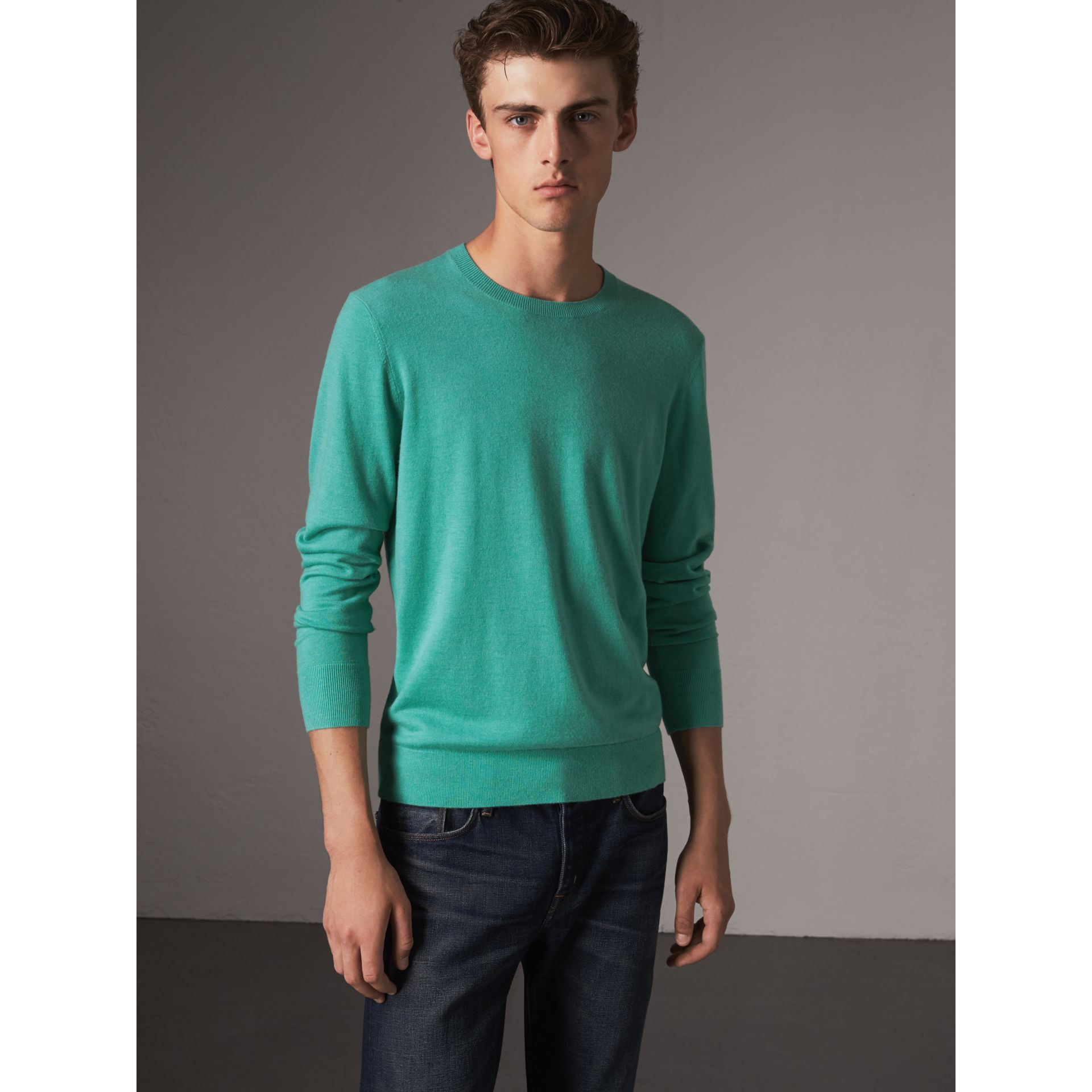Lightweight Crew Neck Cashmere Sweater with Check Trim in Pale Jade - Men | Burberry - gallery image 1
