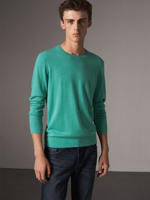 Lightweight Crew Neck Cashmere Sweater with Check Trim in Pale Jade