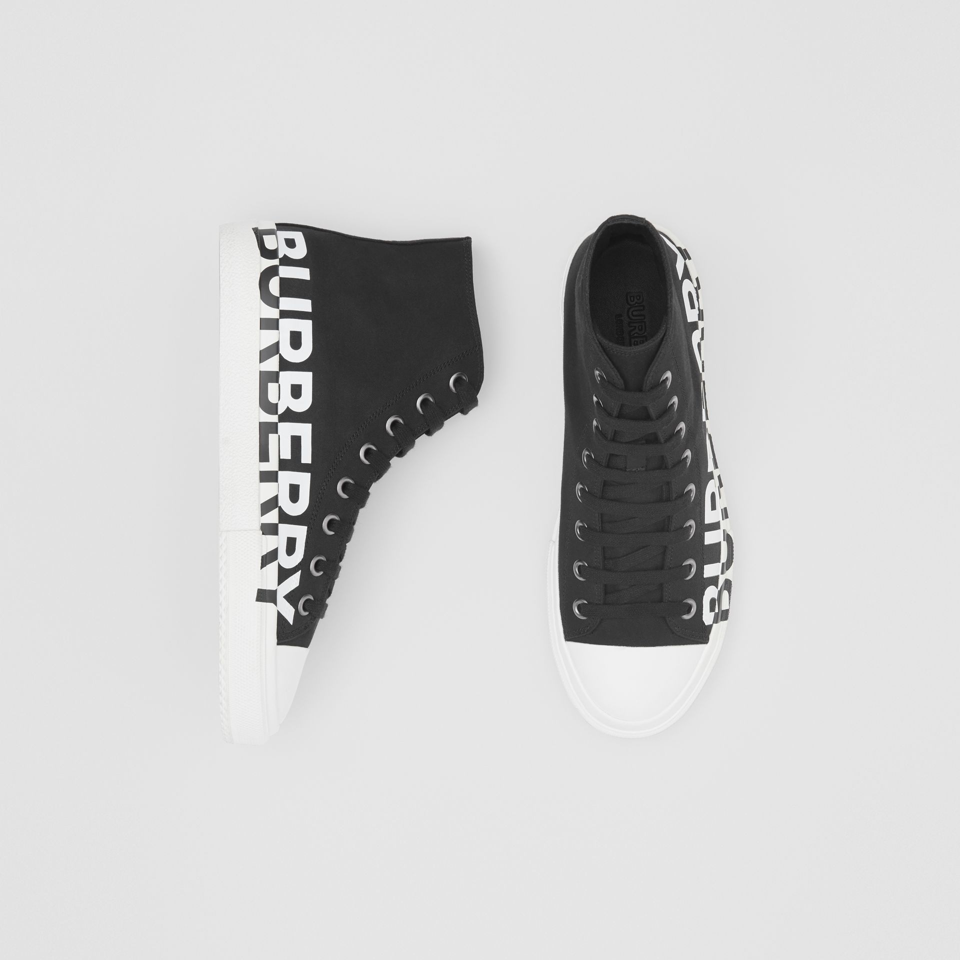 Logo Print Cotton Gabardine High-top Sneakers in Black/white - Men | Burberry - gallery image 0