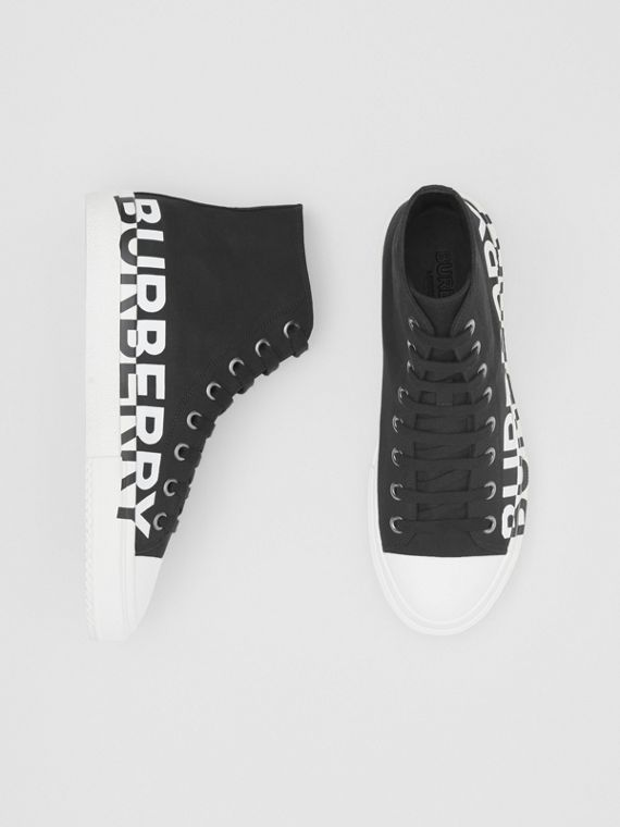 Logo Print Cotton Gabardine High-top Sneakers in Black/white