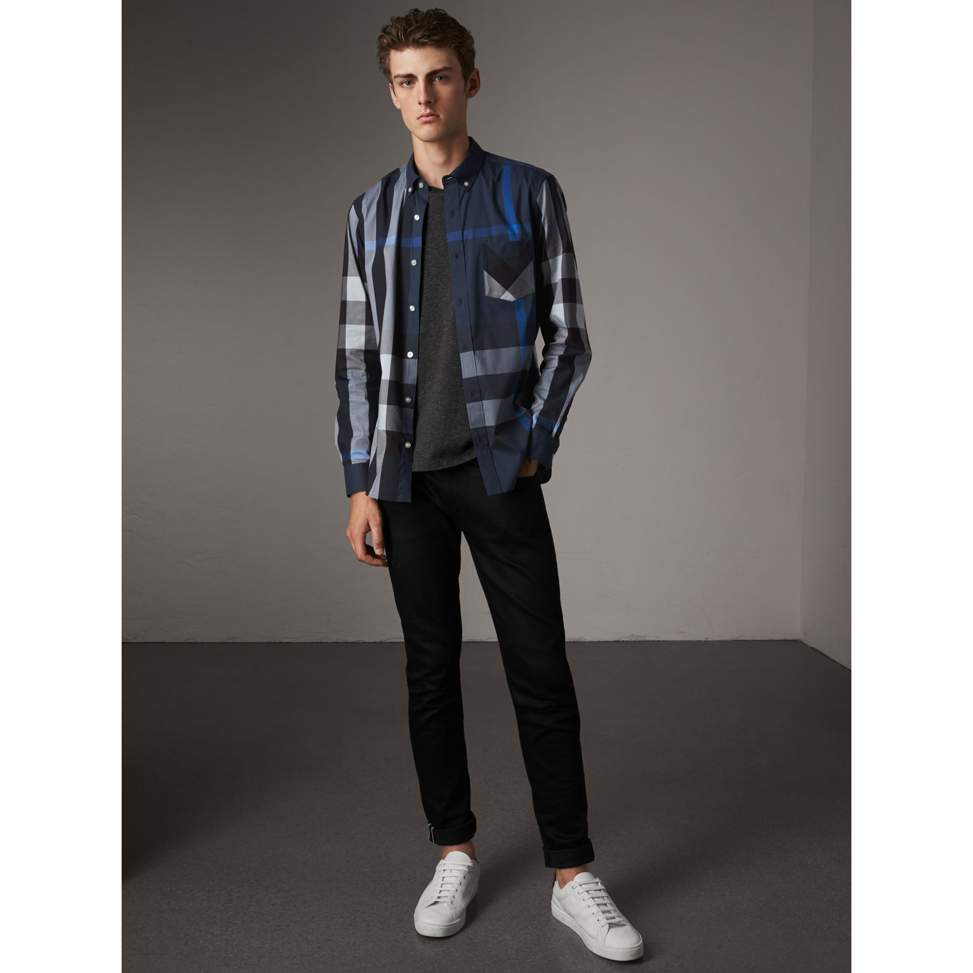Button-down Collar Check Stretch Cotton Blend Shirt in Canvas Blue - Men | Burberry - gallery image 4