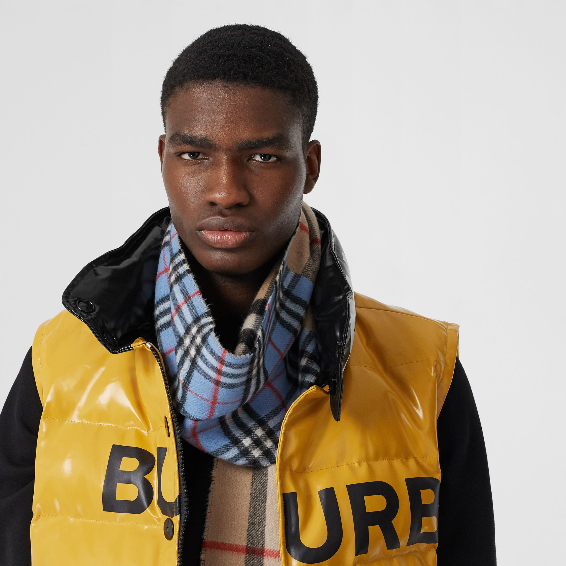 Contrast Check Cashmere Merino Wool Jacquard Scarf in Opal Blue | Burberry - gallery image 3
