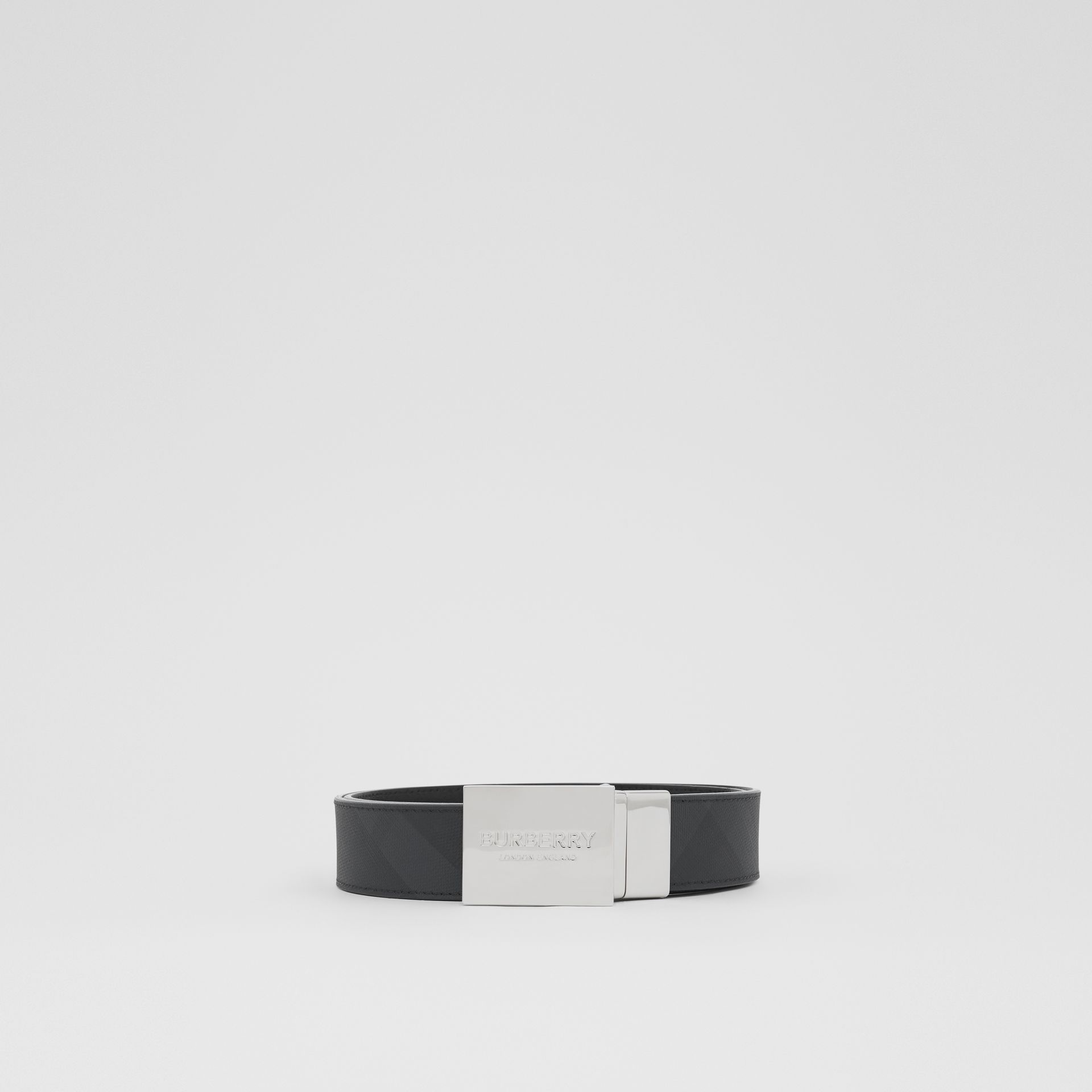 Reversible Plaque Buckle London Check Belt in Dark Charcoal/black - Men | Burberry Singapore - gallery image 3