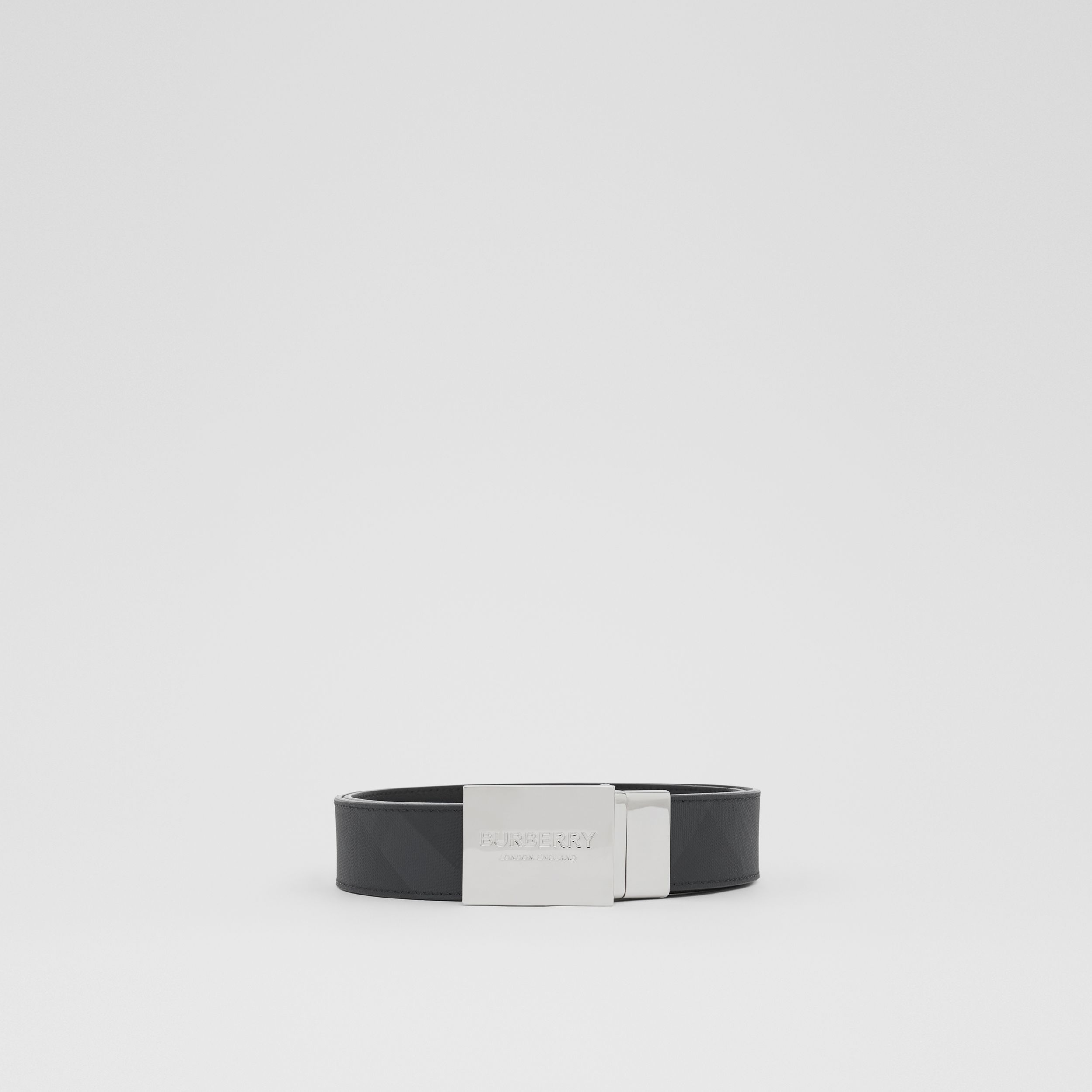 Reversible Plaque Buckle London Check Belt in Dark Charcoal/black - Men | Burberry Canada - 4