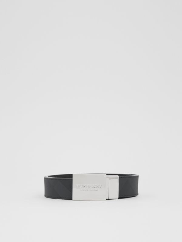 Reversible Plaque Buckle London Check Belt in Dark Charcoal/black - Men | Burberry - cell image 2