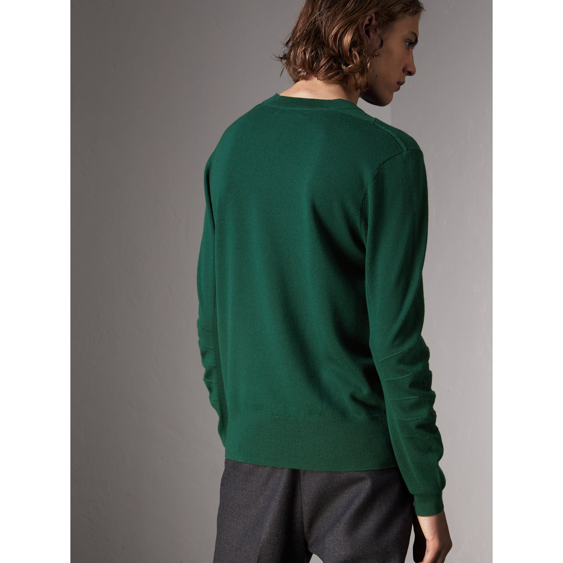 Check Detail Merino Wool Sweater in Dark Teal - Men | Burberry Australia - gallery image 3