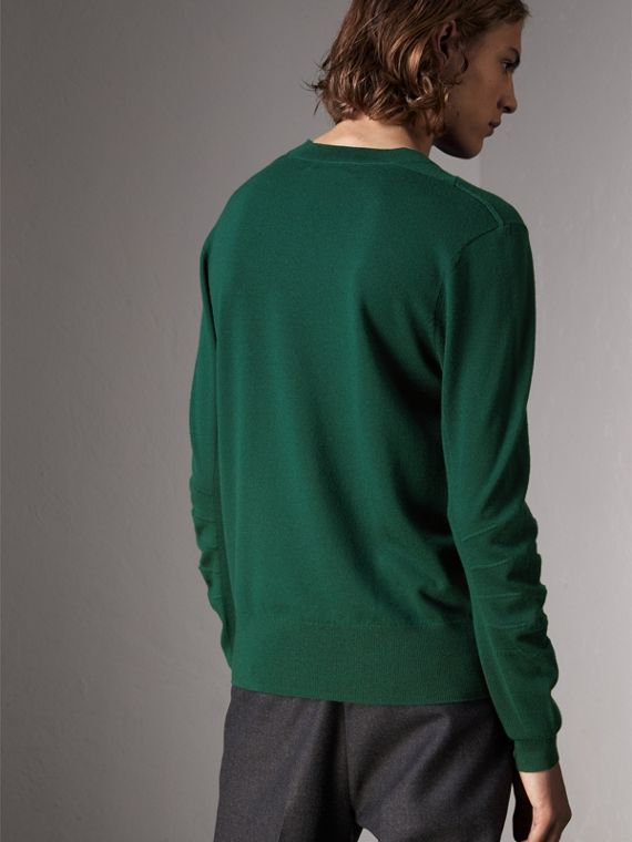 Check Detail Merino Wool Sweater in Dark Teal - Men | Burberry - cell image 2