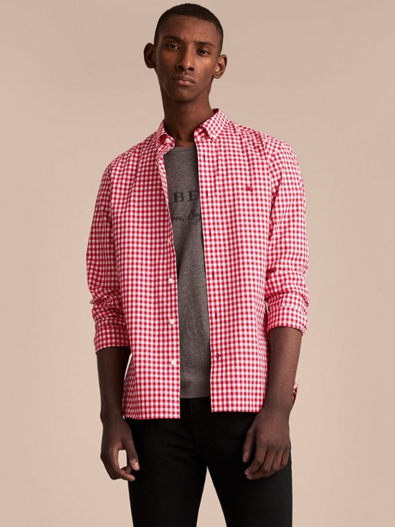 Button-down Collar Gingham Cotton Shirt Parade Red