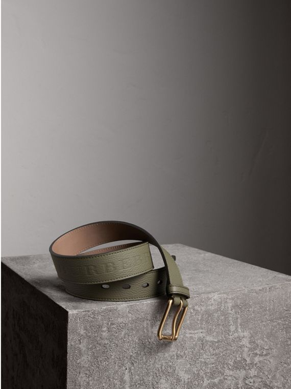 Grainy Leather Belt in Slate Green