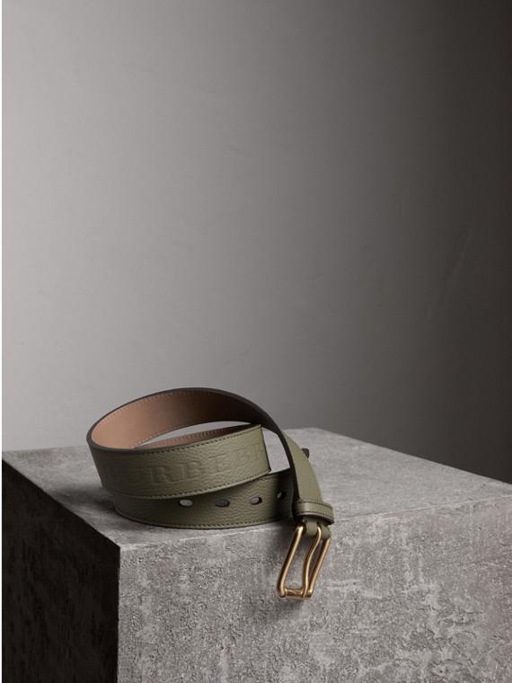 Cintura in pelle a grana (Verde Ardesia)