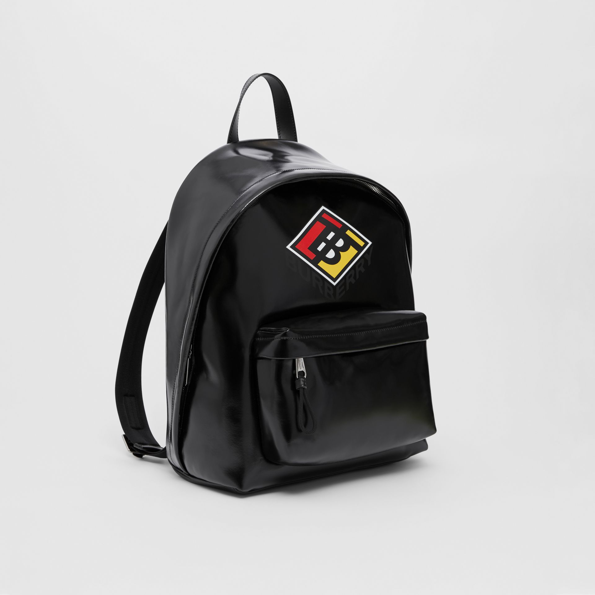 Logo Graphic Coated Canvas Backpack in Black | Burberry Hong Kong S.A.R - gallery image 6