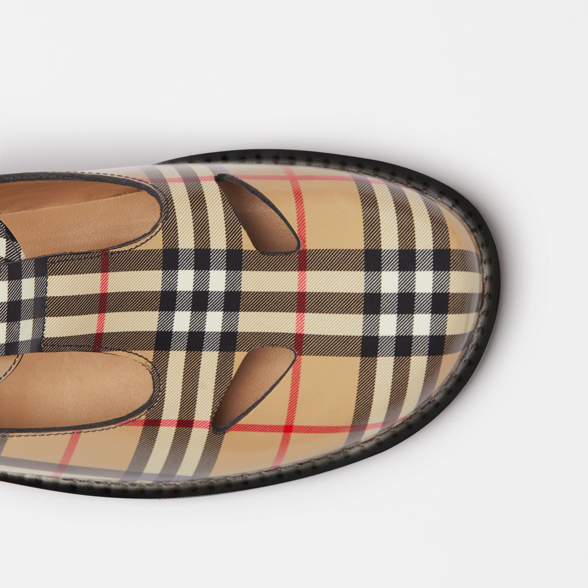 Vintage Check Leather T-bar Shoes in Archive Beige - Women | Burberry Canada - gallery image 1