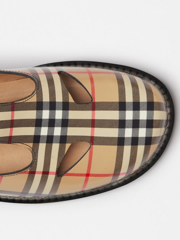 Vintage Check Leather T-bar Shoes in Archive Beige - Women | Burberry Canada - cell image 1