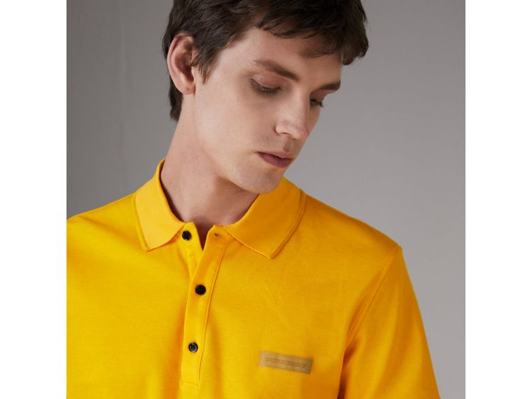 Cotton Piqué Polo Shirt in Bright Yellow - Men | Burberry Australia - cell image 1
